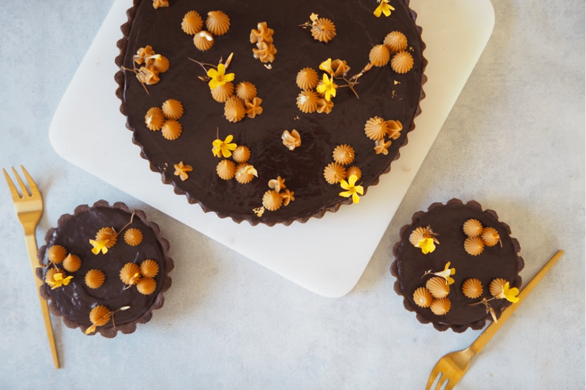 chokoladetærte bananmazarin chokolade tærte