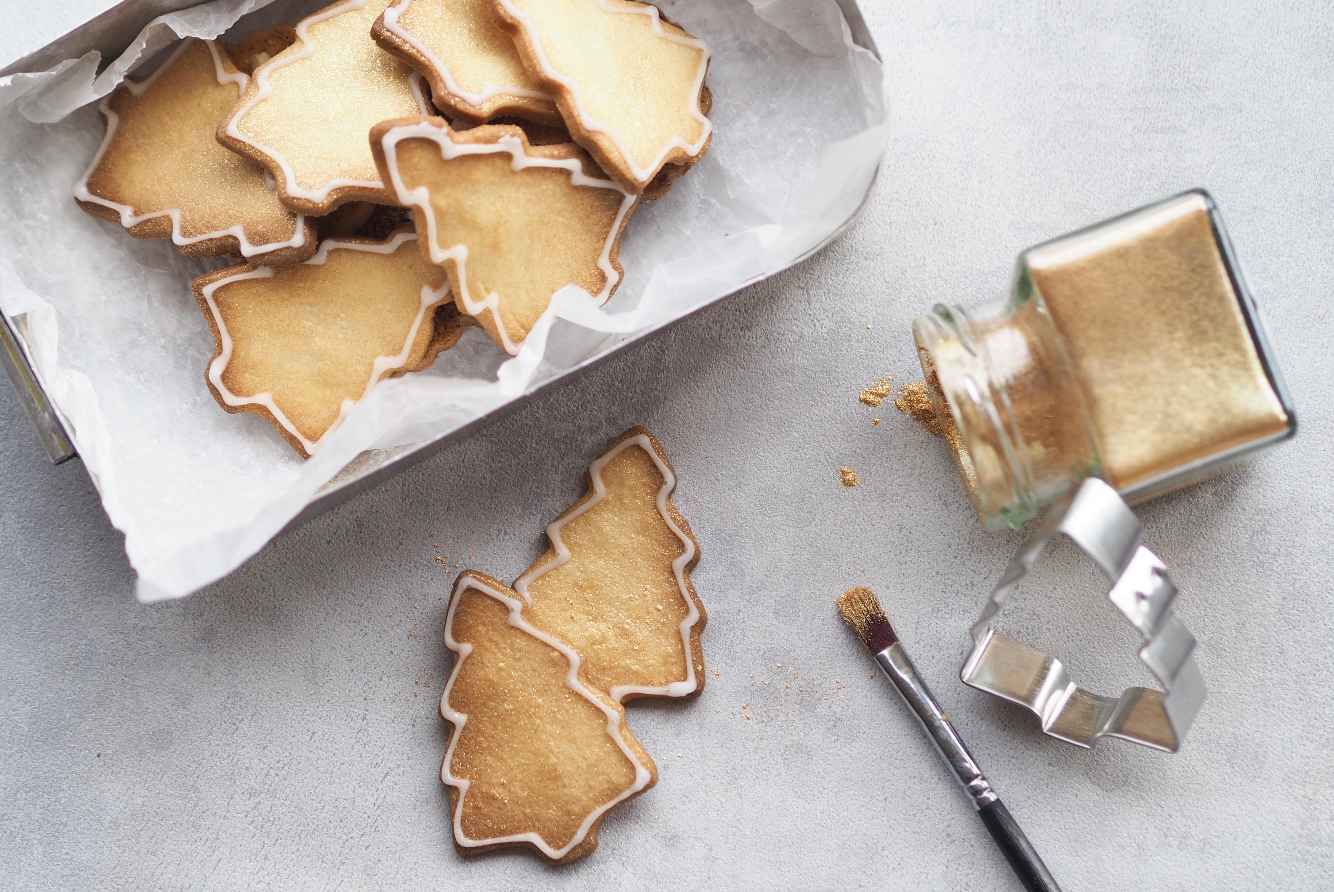 Julesmåkager guld småkager juletræ